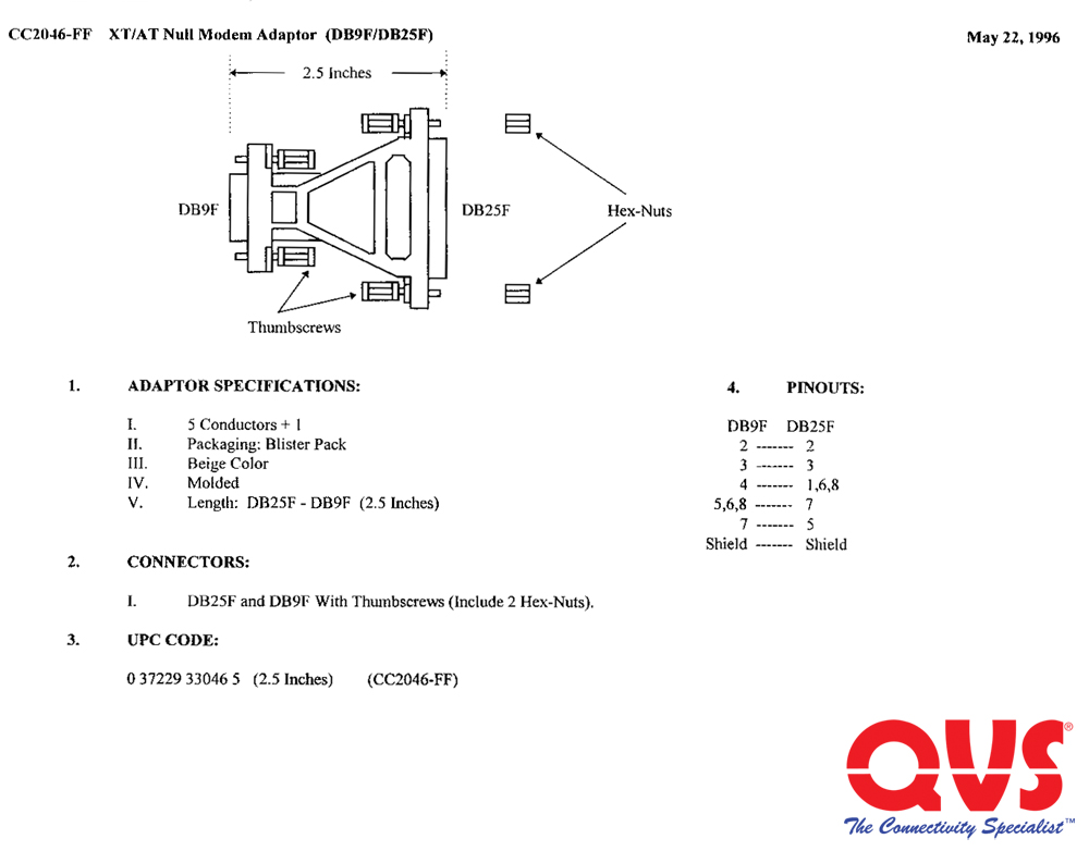 CC2046 FF_S cc2046 ff db9 female to db25 female rs232 serial null modem adaptor,Female Usb To Db9 Wiring