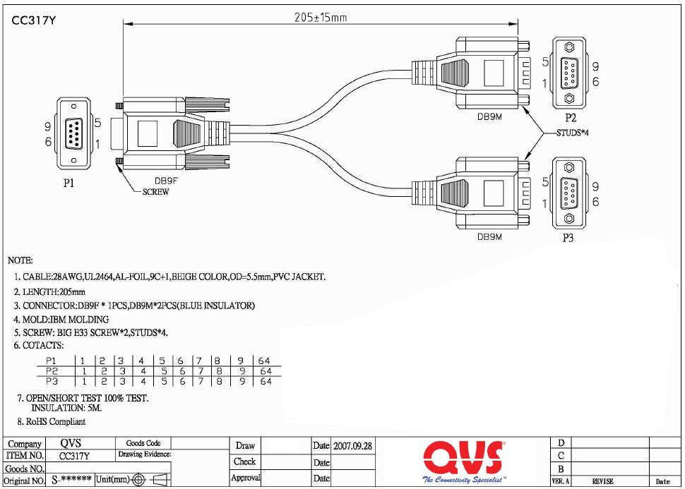 CC317Y  8 Inches Serial DB9 Female to DB9    Male         Male