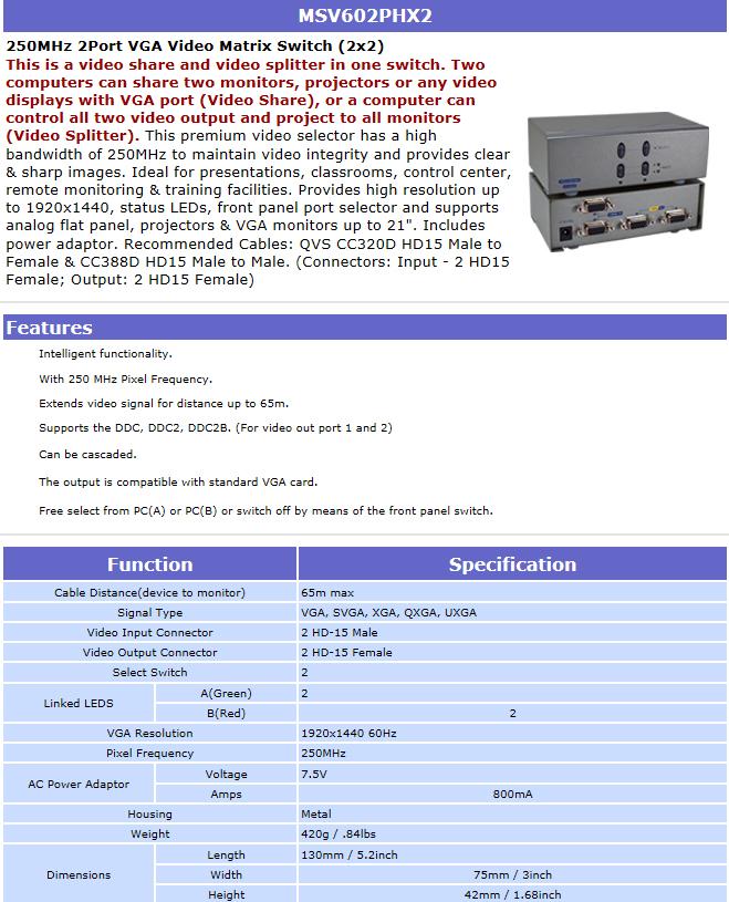 MSV602PHX2 - 250MHz 2Port VGA Video Matrix Switch (2x2) on