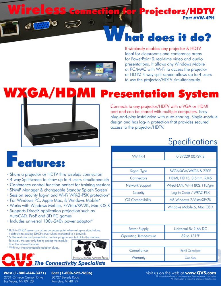 VW-4PH - VGA/HDMI Wireless Presentation System for Projector/HDTV