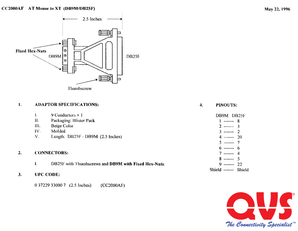 CC2000AF_S qvs serial adaptors db9 female to db9 male wiring diagram at mifinder.co