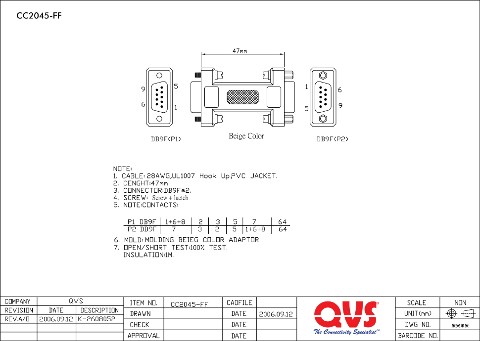CC2045 FF_S qvs serial adaptors Null Modem Pinout Wire Colors at n-0.co