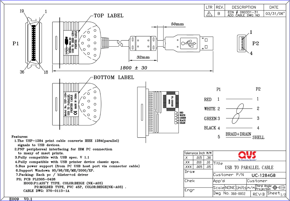 qvs - parallel hi-speed ieee1284 cables scsi to usb wiring diagram 1 4 jack to usb wiring diagram
